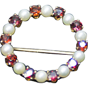 14 Karat Yellow Gold Pearl and Garnet Circle Pin
