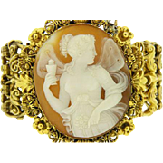 Rare Victorian 14K Yellow Gold Large Cameo Bracelet,   Circa 1860's  Signed NERI.