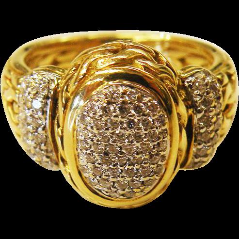 18K Yellow Gold John Hardy  Pave' Diamond Byzantine Chain Ring