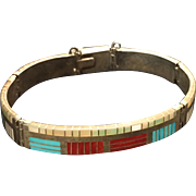 Sterling Silver Native American ZUNI Bracelet with Turquoise, Red Coral & Mother of Pearl
