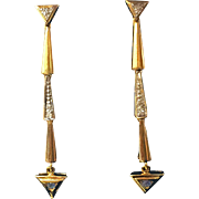 Vintage 14 Karat Yellow Gold Dangle Sapphire & Diamond Earrings