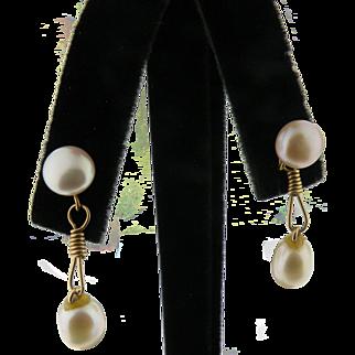 14K Yellow gold Freshwater drop Pearl Earrings