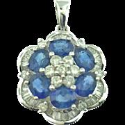 18 Karat White Gold Sapphire and Diamond Pendant