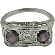 14K White Gold Diamond and Garnet Ring with Filigree Gallery Circa 1930s