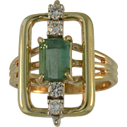 Vintage Estate Emerald and Diamond Ladies Ring in 14K Yellow Gold, Rectangle Design.