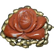 Vintage Brooch/Pin with Hand-carved Red Coral Rose