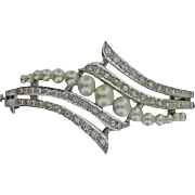 14KT White Gold Cultured Akoya Pearl & Diamond Bangle Bracelet in a Bypass Design