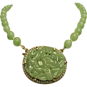 Beautiful Vintage  Natural Carved Floral Green Jade 14k Yellow Gold Necklace 30 grams  16 inches