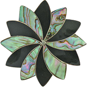 Vintage Sterling Silver Shell  & Onyx Flower-Style Pin
