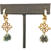 18K Yellow Gold Diamond & Aqua Dangle Earrings By Designer Erica Courtney