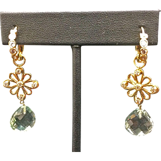 18K Yellow Gold Diamond & Aqua Dangle Earrings By Designer Erica Courtney