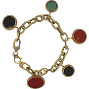 14K Yellow Gold Link Bracelet with 5 Intaglio Carved Stone Charms by Peter Brams Design