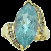 Vintage 14k yellow gold sky blue topaz &  diamond ring