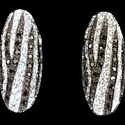 Vintage Black & White Diamond Earrings 14KT White Gold