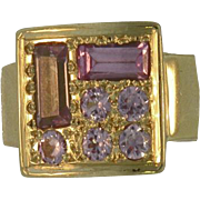 18 K  Yellow Gold Vintage Pink Sapphire Ring