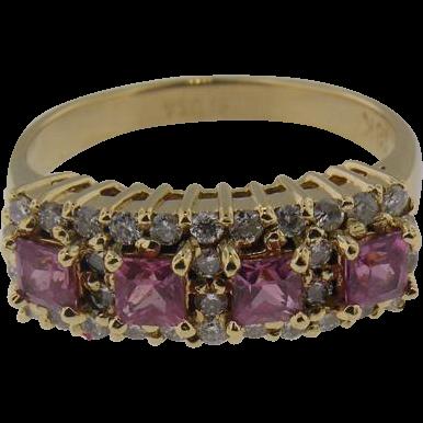 18 K Yellow Gold Pink Sapphire & Diamond Ring by Italian  Designer Bellari