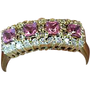 18K Yellow Gold Italian Designer Signed Bellini Pink Sapphire & Diamond Accent Ring