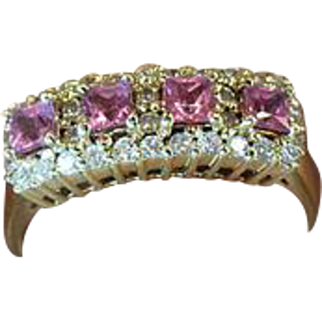 18K Yellow Gold Italian Designer Signed Bellini Pink Sapphire & Diamond Accent Ring