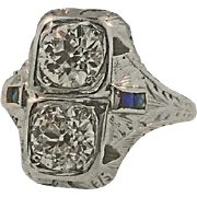 Vintage 18 Karat White Gold Diamond & Sapphire Ring