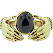 9k Yellow Gold Vintage Irish Claddah Ring