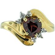 14K Yellow Gold Heart Garnet & Diamond Accent Ring