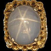 14K Yellow Gold Light Grayish Blue Natural Star Sapphire Ring, Circa 1950's