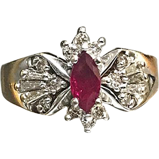 14 K yellow Gold Marques Ruby & Diamond Ring