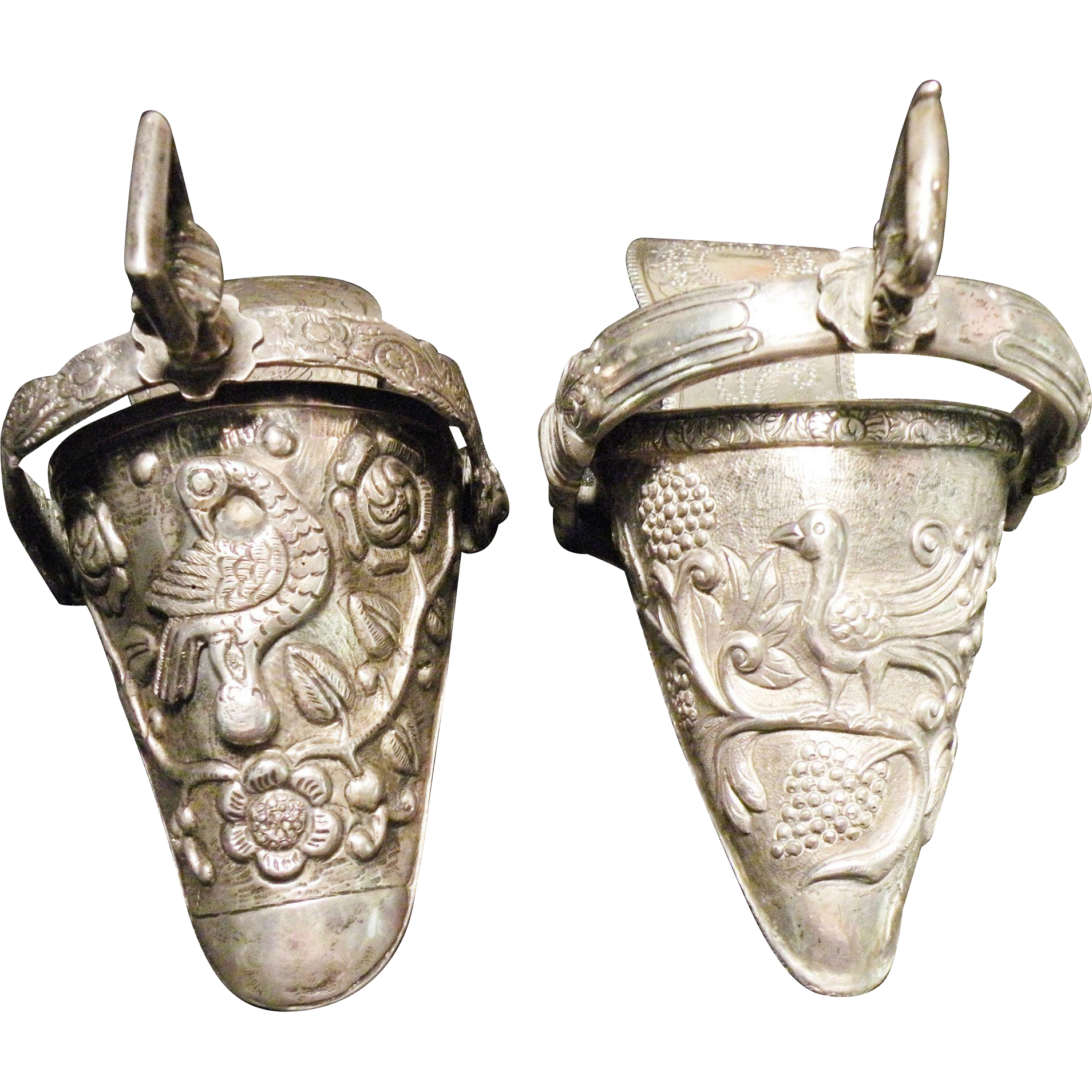 Pair of Antique Argentina Made Coin Silver Side Stirrups  Circa 1876.
