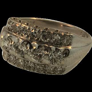 Vintage 14 Karat White Gold Ladies Diamond Ring