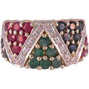 14K Yellow Gold Vintage Multi Stone,  Diamond, Ruby, Sapphire & Emerald Ring