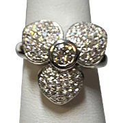 14 K White Gold Diamond ring,  Flower design