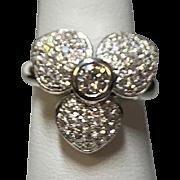 14 K White Gold Diamond ring,  Flower design