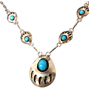 Sterling Hopi, Bear Claw Shadowbox, Turquoise Necklace