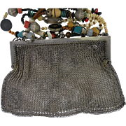 Silver Vintage Mesh Link Purse German Silver Bead Chain.