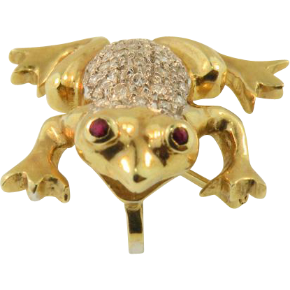 14K Yellow Gold Diamond Frog Brooch