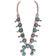 Zuni Squash Blossom Silver Turquoise Necklace