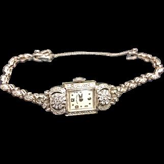 14K White Gold Vintage Ladies Diamond Hamilton Watch