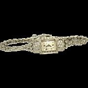 14K White Gold Ladies Hamilton Cocktail Diamond Watch,  Circa 1930/1940's.