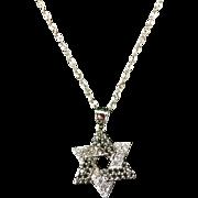 Vintage Star of David Black and White Diamond Pendant Necklace, 14 Karat white gold,
