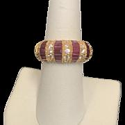 14K Yellow Gold Dome Diamond & Ruby ring