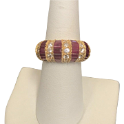 14K Yellow Gold Dome Diamond & Ruby ring
