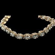 14K Yellow Gold Oval Aquamarine Filigree Tennis Bracelet