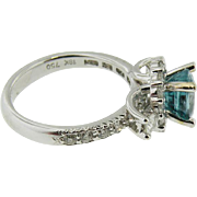 Rare 18k white gold Oval Brazillion Pariba  BlueTourmaline & Diamond Ring Over 3.00cttw.