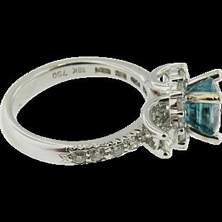 Rare 18k white gold Oval Brazillion Pariba  BlueTourmaline & Diamond Ring Over 3.00cttw.