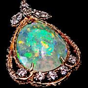 Vintage Semi-Black Crystal Pear-Shaped Opal, Lightning Ridge Broach/Pendant 14 Karat Gold & Diamond