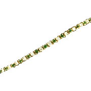 14K Yellow Gold Diamond & Emerald Bracelet
