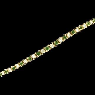 14K Yellow Gold Diamond & Emerald Bracelet
