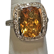 Estate Vintage 18k white gold 5.5ct diamond and citrine cocktail ring