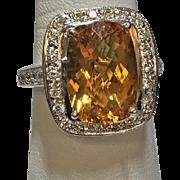 Estate Vintage 18k white gold 5.5ct diamond and citrine cocktail ring