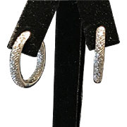 14 K White Gold Inside Out Diamond Hoop Earrings 1.00cttw